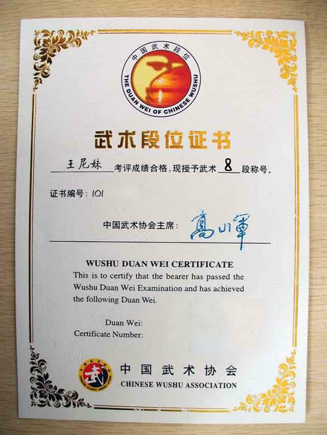 武术段位证书