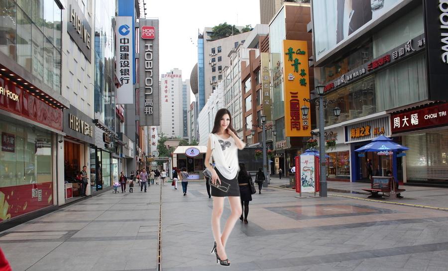 步行街照片留念