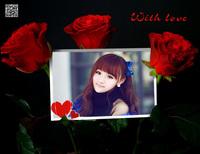 三支玫瑰花照片合成