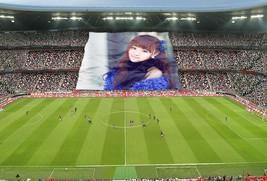 足球场球迷展示你的照片