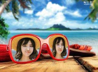 海边眼镜映出你的照片