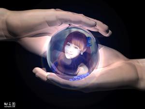 照片合成到水晶球上