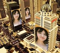 城市楼群挂上你的照片