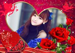 玫瑰环绕心型照片合成