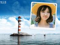 海面灯塔浪漫照片合成