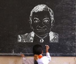 照片变黑板粉笔画