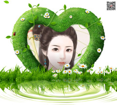 水边的心型绿草环绕照片合成