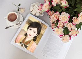 书籍花朵咖啡照片合成