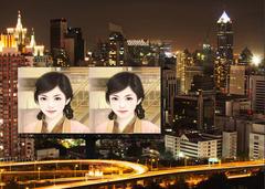城市夜景路边广告牌照片合成
